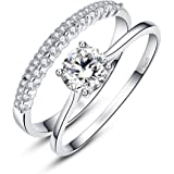 Bonlavie 0.9ct 925 Solid Sterling Silver White Cubic Zirconia Ring Set for Bride Wedding Band Engagement