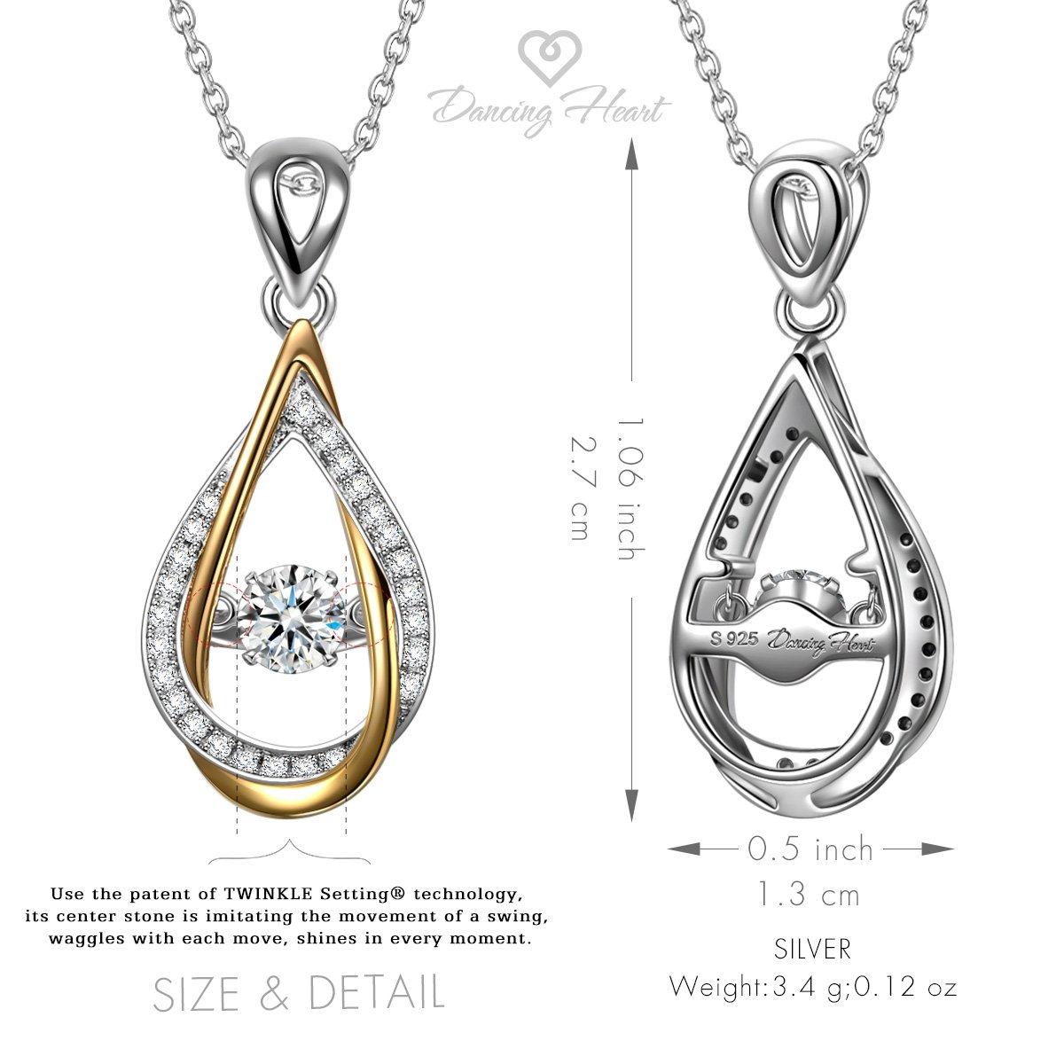 DANCING HEART 925 Sterling Silver Dancing Stone Necklaces for Women Jewelry Necklace for Her Swarovski Crystals Necklace Christmas Gifts Anniversary Birthday Gift for Mom Wife Girlfriend Daughter by DANCING HEART (Image #2)