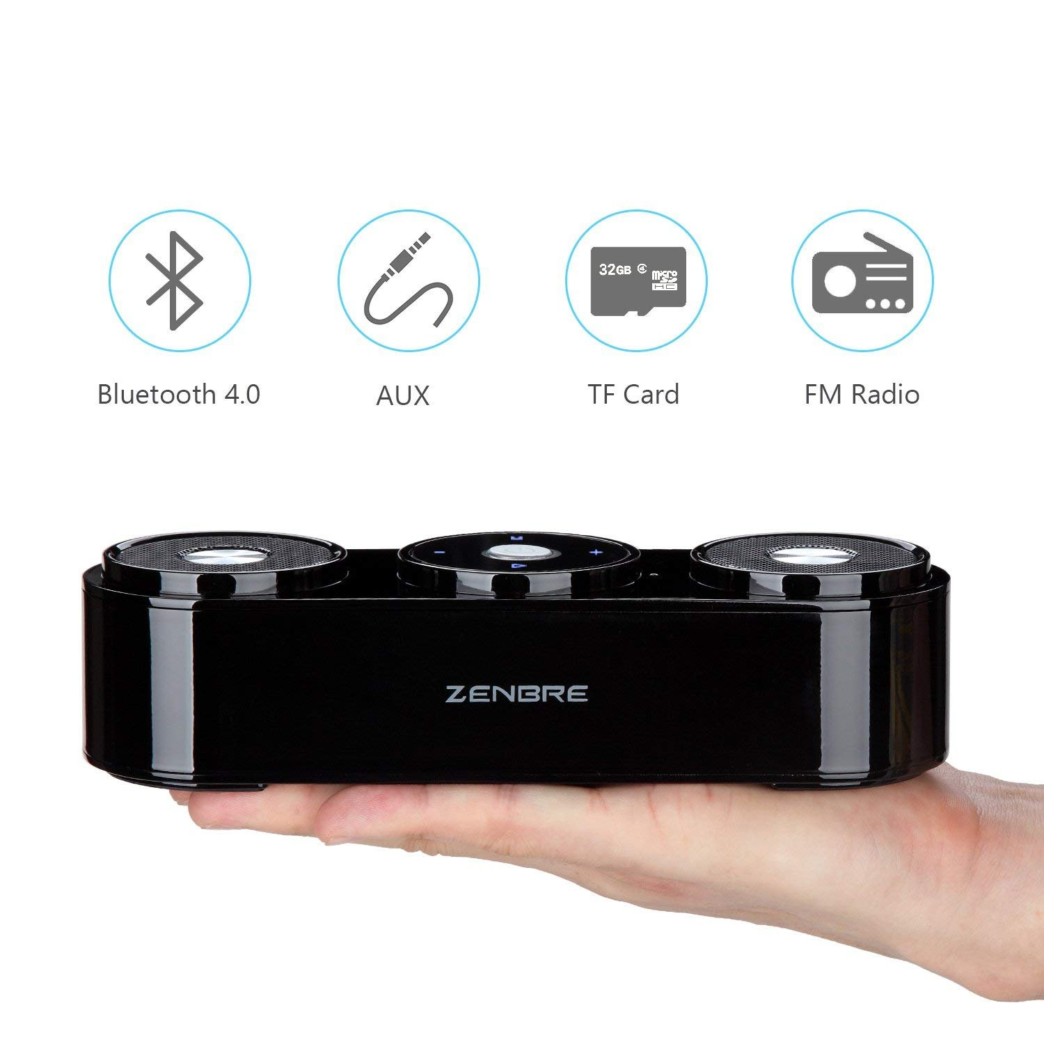 Bluetooth Speakers, ZENBRE Z3 10W Wireless Computer Speakers with 20h Playtime, Portable Speaker with Dual-Driver Enhanced Bass Resonator (Black) by ZENBRE (Image #8)