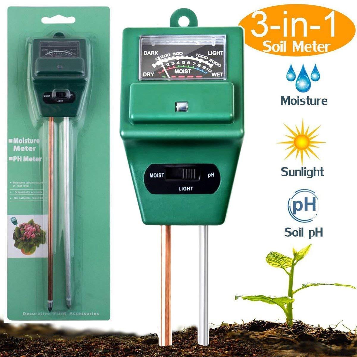 AIBIDUO 3-in-1-Messgerät für den Boden, mit pH-Meter, Licht- & Feuchtigkeitsmessgerät, Säuretester, ideal für Garten, Bauernhof, Rasen, drinnen & draußen (kein Akku erforderlich) Licht- & Feuchtigkeitsmessgerät