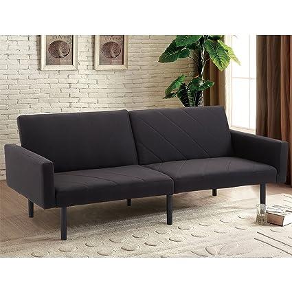 Giantex Futon Sofa Bed Convertible Recliner Couch 5 Reclining Positions  Modern Split Back Sofa Sleeper