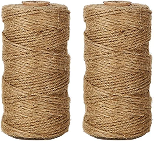 Wrapping 656 Feet 2mm Jute Rope Gift Twine Packing String for Craft Projects Gardening Applications Tenn Well Black Jute Twine