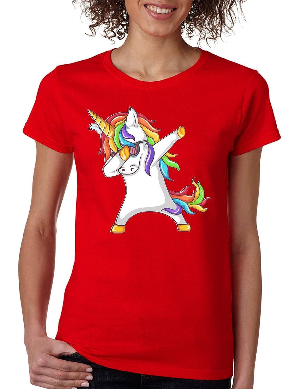 Allntrends Women's T Shirt Dabbing Unicorn Cute Dab Dance Rainbow Girly Tee