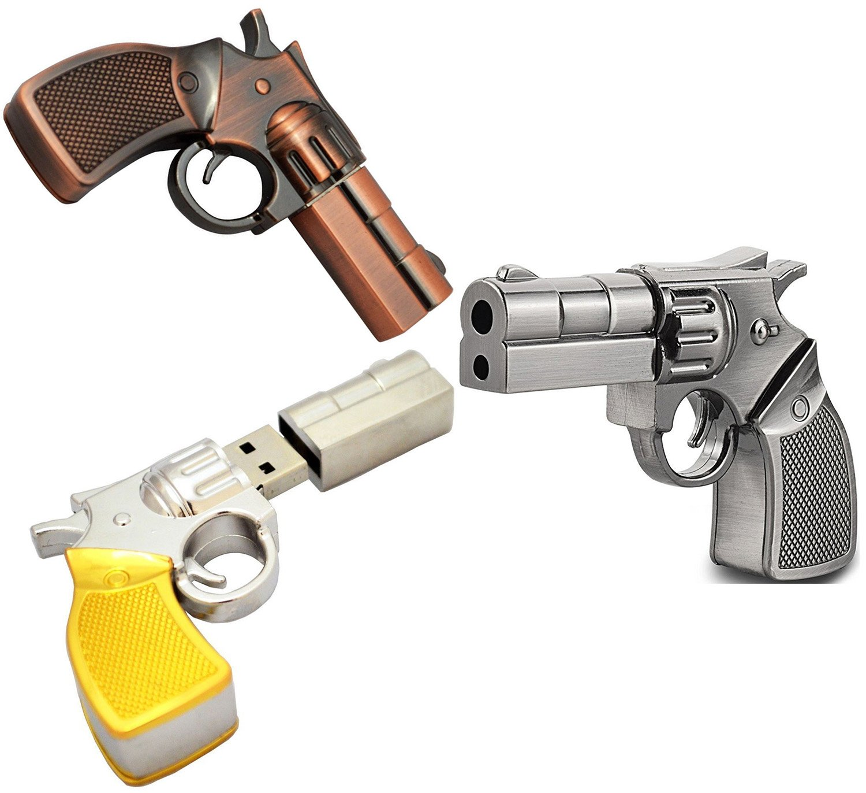 WooTeck 3 Pack 16GB Metal Revolver Pistol Gun USB Flash Drive Memory Stick(Copper,Livid,Golden) by WooTeck