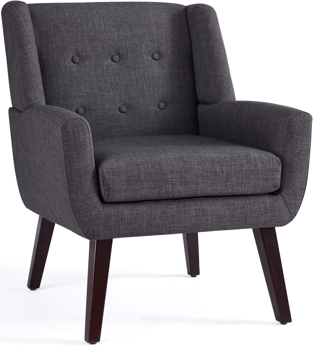 HUIMO Accent Chair, Upholstered Button Tufted Armchair, Linen Fabric Sofa  Chairs for Bedroom, Living Room, Mid-Century Modern Comfy Reading