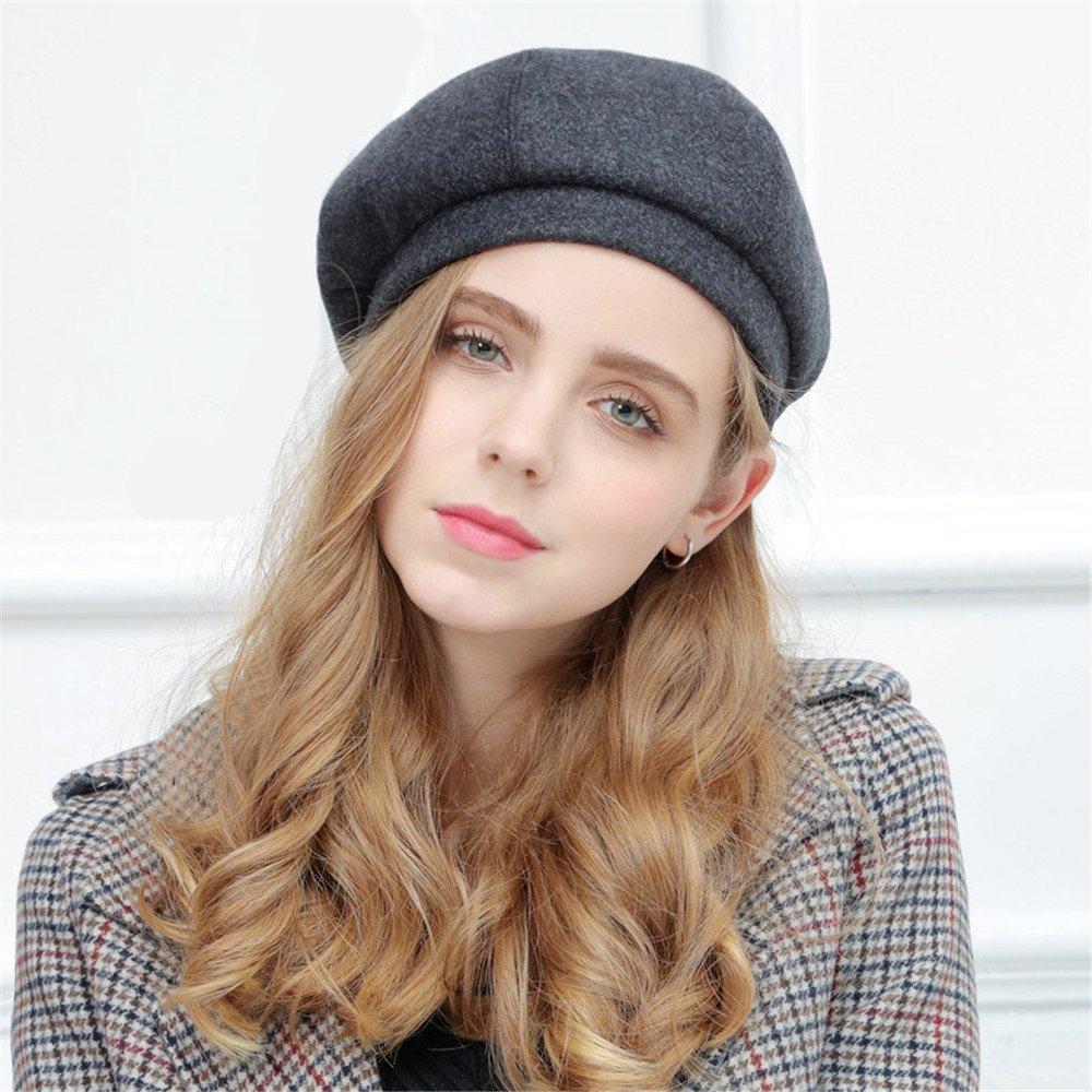 Una donna femmina hat Beret in autunno e in inverno tutto-match zucca hat molla Ms. retrò Berretto regolabile elastico,Zucca hat – black ash