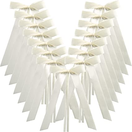 Naler Wedding Pew End Bowknots Ribbon Bows Cars Chairs Decorations 50pcs Ivory