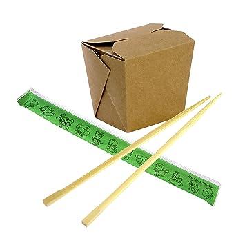 Caja de papel kraft chino de 16 onzas con palillos de bambú desechables de 9 pulgadas -
