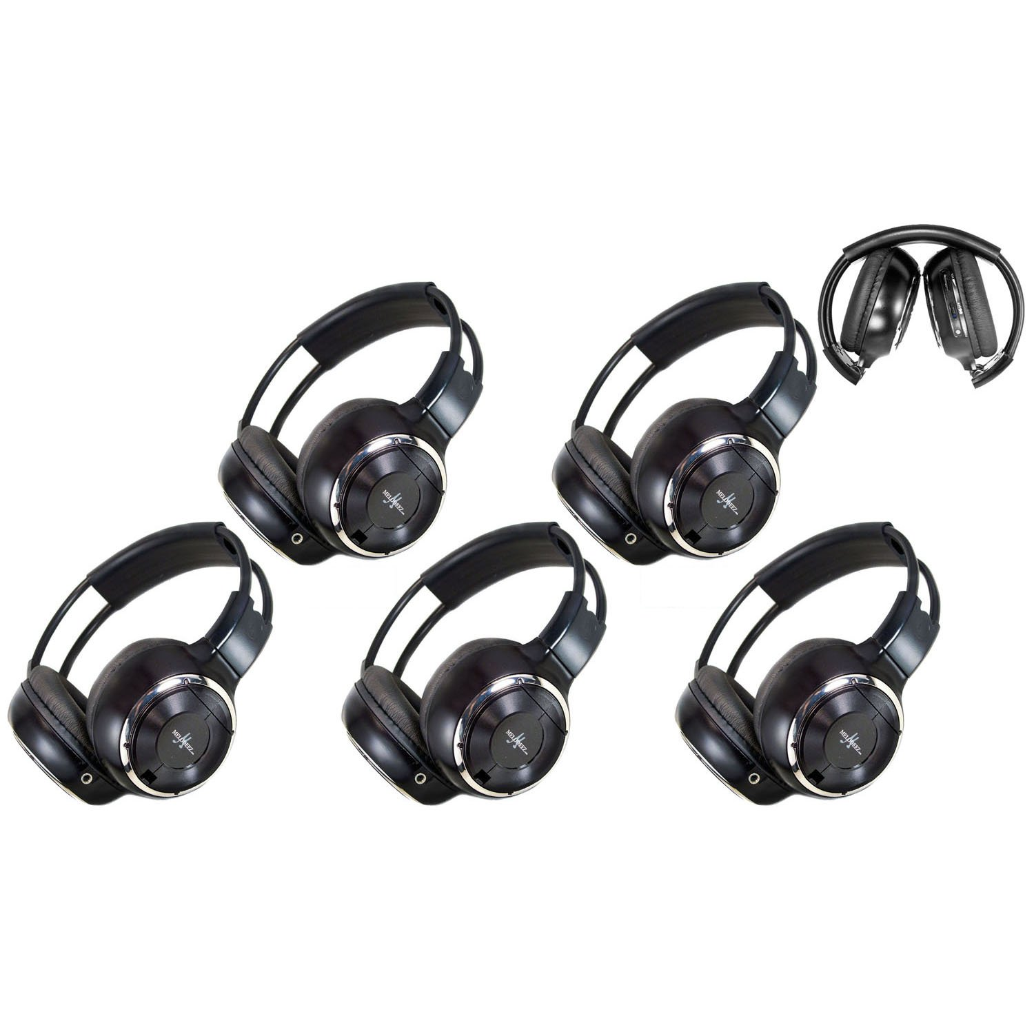 5 Pack of Two Channel Fold Adjustable Universal Rear Entertainment System Infrared Headphones 5 Additional 48'' 3.5mm Auxiliary Cords Wireless IR DVD Player Head Phones Car TV Video Audio Listening