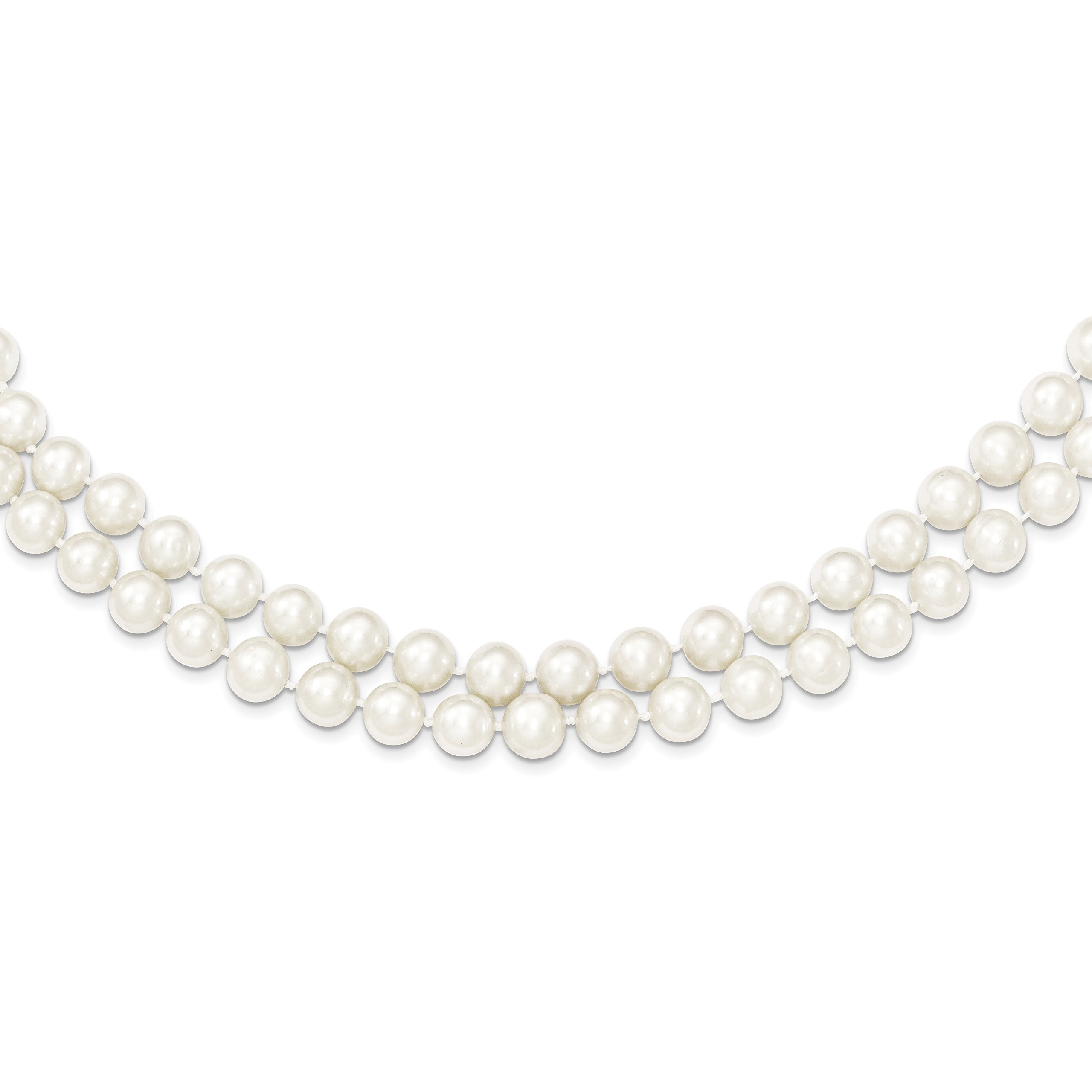 ICE CARATS 925 Sterling Silver 7.5 8.5mm White Freshwater Cultured Pearl 2 Strand Chain Necklace Fine Jewelry Gift Set For Women Heart