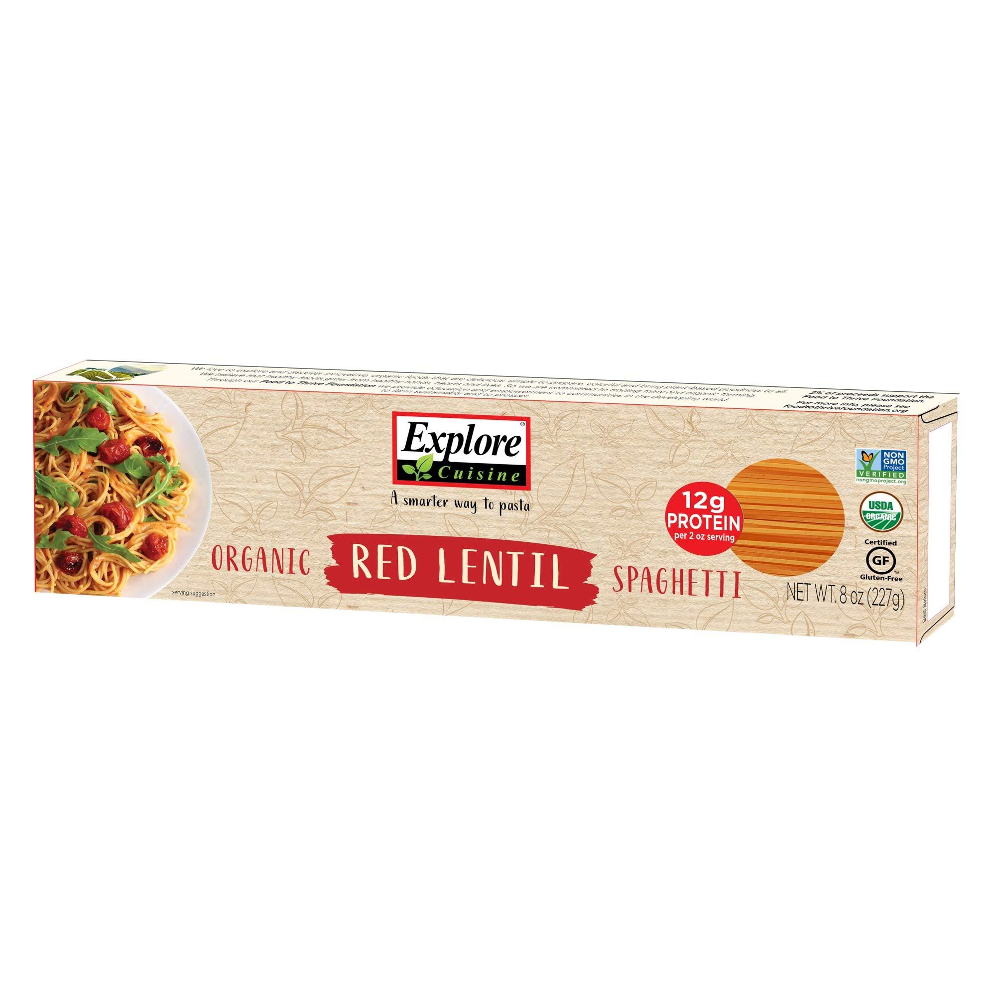 Explore Cuisine Organic Red Lentil Spaghetti - 8 oz -High in Plant-Based Protein, Gluten Free Pasta, Easy to Make - USDA Certified Organic, Vegan, Kosher, Non GMO - 4 Servings by EXPLORE CUISINE