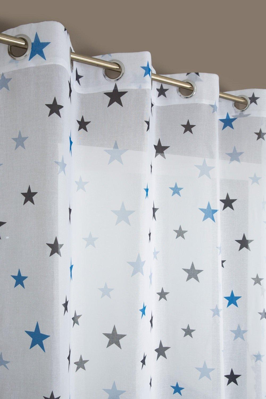 Rideaudiscount Voilage Chambre Enfant Motif étoile Bleu