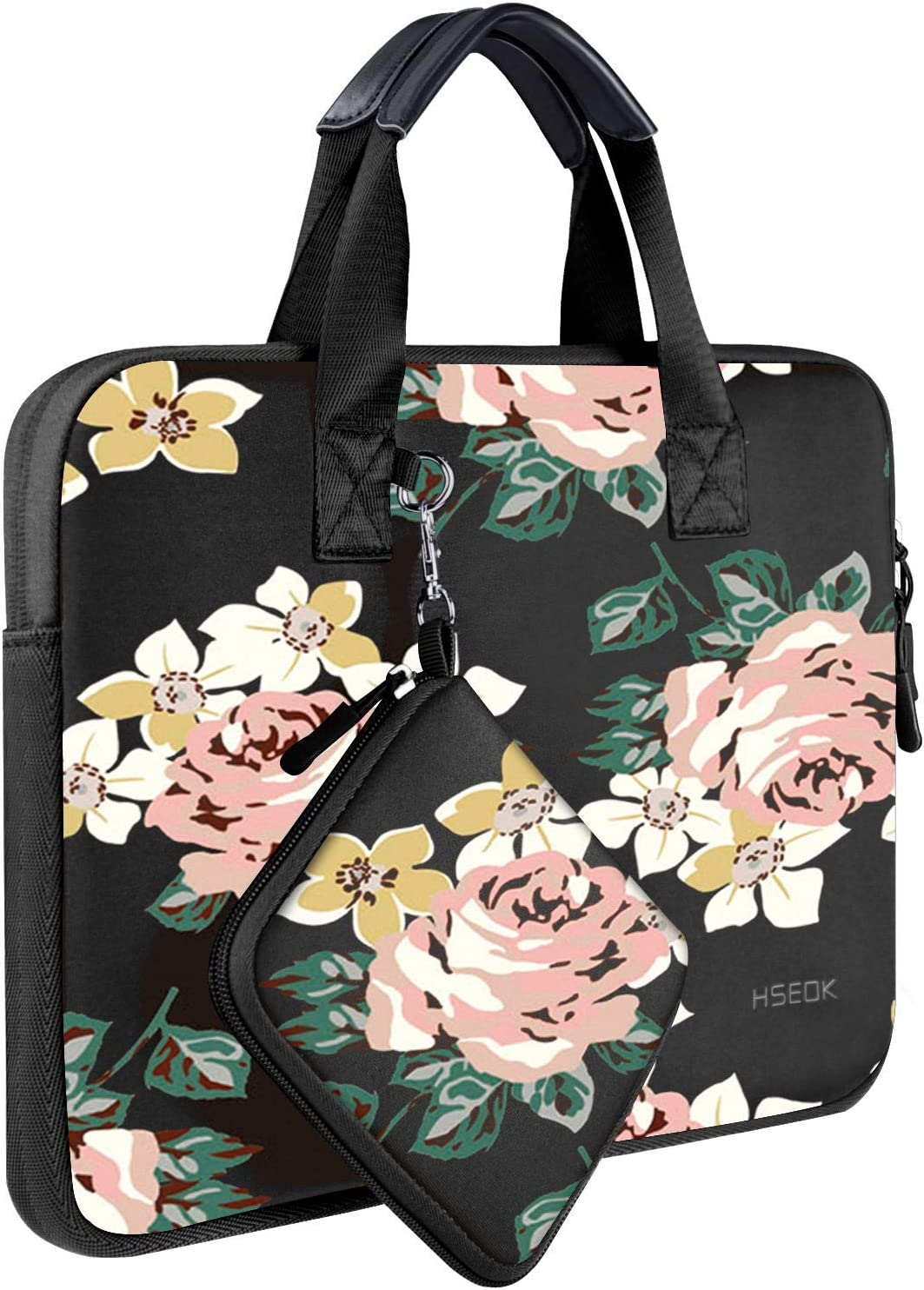 """Laptop Sleeve 13 13.3 13.5 Inch Case for MacBook Air Pro 13""""-13.3"""", Surface Laptop 13.5"""", Water Repellent Elastic Neoprene Notebooks Hand Bag with Handle and Small Case, Black Rose"""