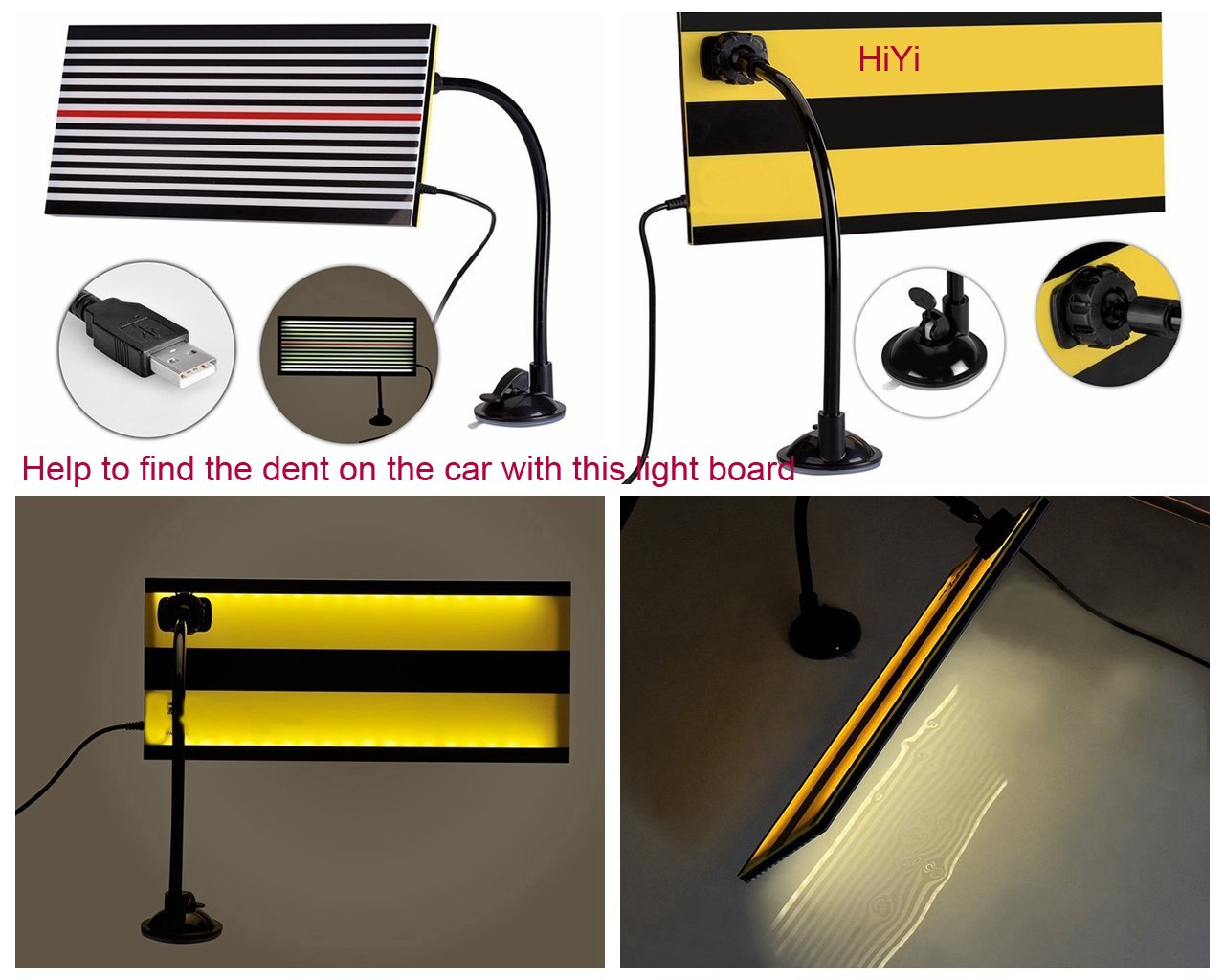 HiYi PDR Led Stripe Line Board Paintless Dent Removal Repair Tool with Ajustment Holder White light Haiyilu