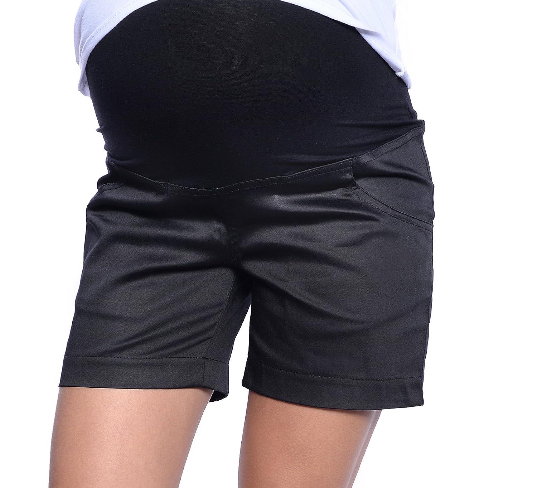 Mija - Pantalones cortos de maternidad con panel por encima de la barriga 3087