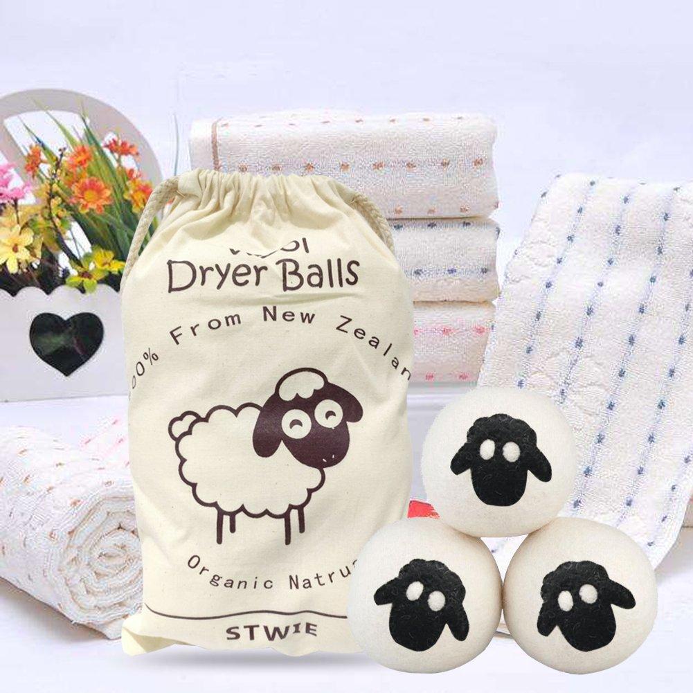 Lana Bolas Secadora - 6 unidades - stwie reutilizable Natural suavizante, Gran lana de fieltro bolas de lavandería para ahorrar tiempo de secado y reducir ...
