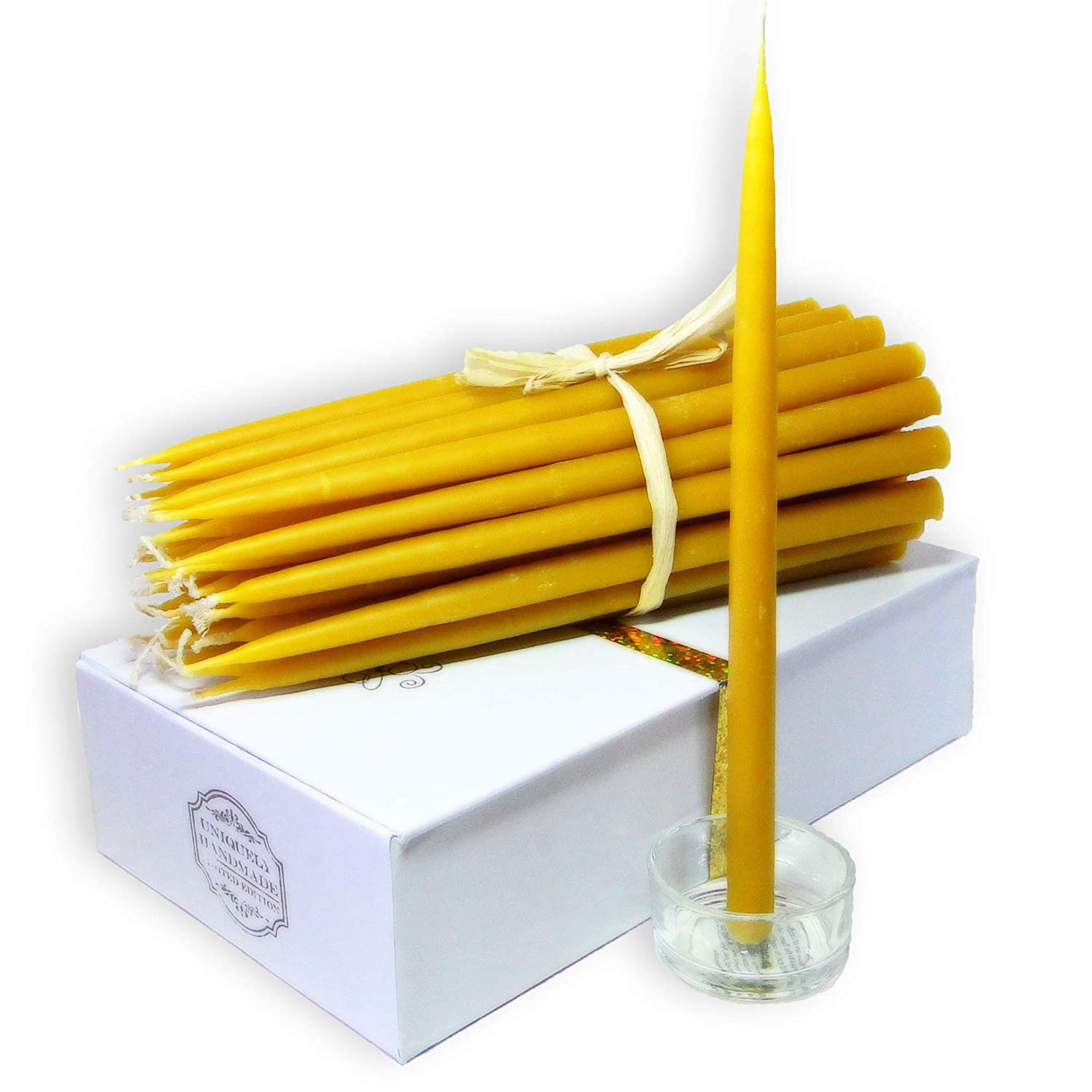 BCandle 100% Beeswax 2-hour Taper Candles Organic Hand Made - 7 1/2 Inch Tall, 3/8 Inch Diameter (Pack of 36)