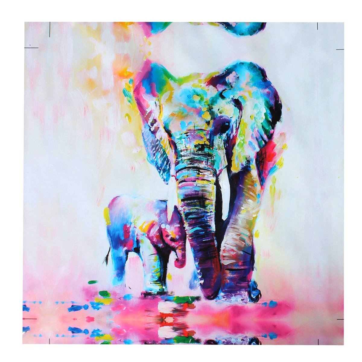 Wall art elephant - Amazon Com Mohoo 50x50cm Elephant Oil Painting Canvas Wall Art Wall Decorations Paintings For Living Room Bedroom Kitchen Office Etc Paintings