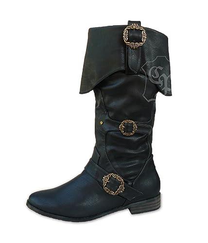 CP Schuhe Piratenstiefel Mittelalter Stiefel Käptn Sperling schwarz