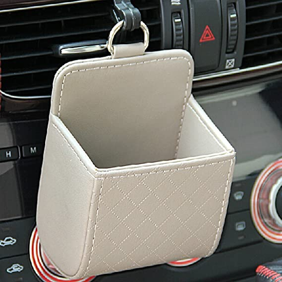 Car Storage Box Black + Red Air Vent PU Leather Bag Car Auto Seat Back Interior Tidy Storage Coin Case Cellphone Holder with Hook