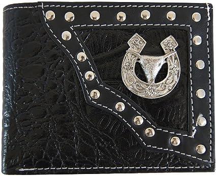 Bull Head Wallets Genuine Tan Leather Cowboy Western Mens Bifold Concho