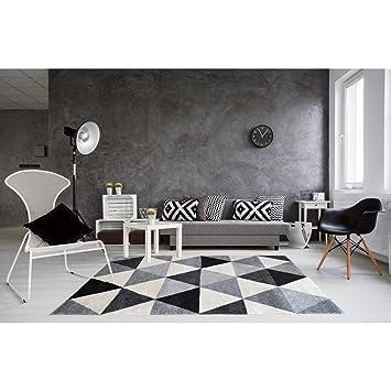 Tapis Geometrique Style Scandinave Gris Pour Salon Gomi Amazon Fr
