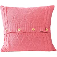 cool nik Cotton Knitted Decorative Pillow Case Cushion Cable Knitting Patterns Square Warm Throw Pillow Cover Pink