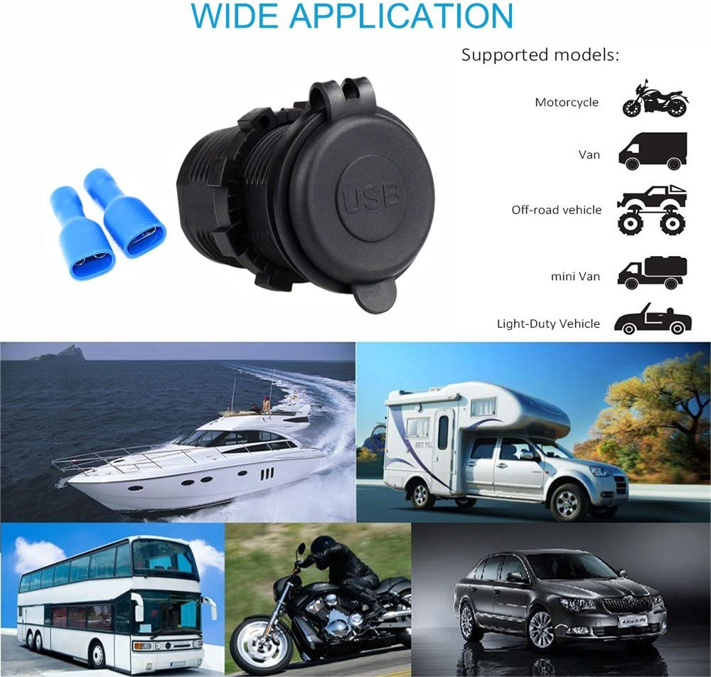 Cllena Car USB Charger Socket Power Outlet 1A /& 2.1A for Ipad iPhone Car Boat Marine Mobile Blue LED Light 5007B
