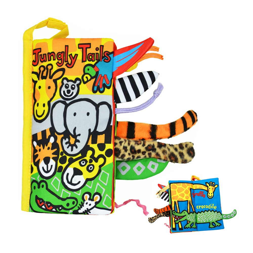 SUPOW Soft Cloth Books -Funny Animal Tails Cloth book Baby Toy Cloth Development Books for 3~24 Month Baby (Jungly Tails)
