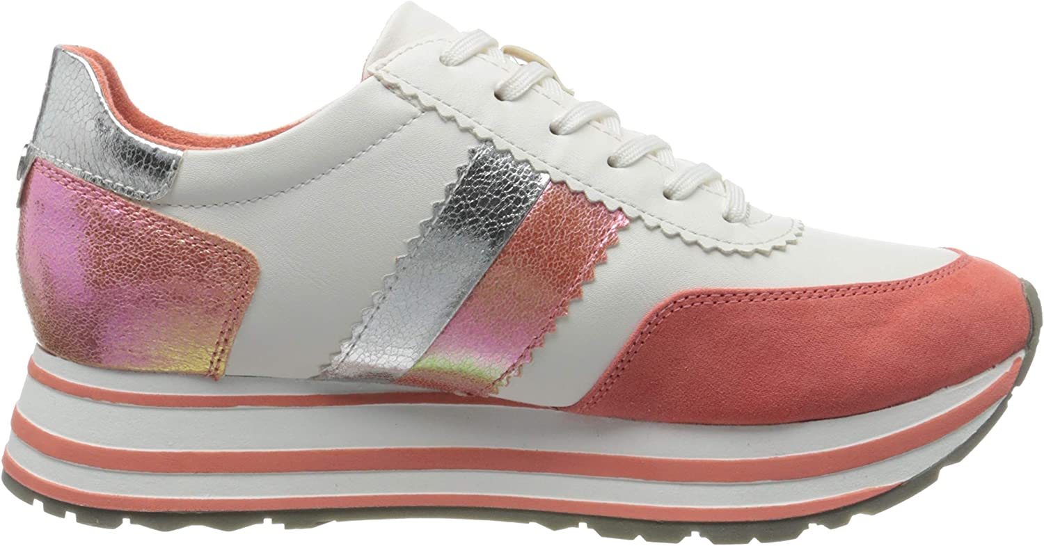 Tamaris Damen 1-1-23737-24 184 Sneaker Weiß White Orange 184