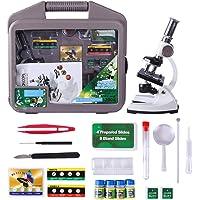 Riva776Yale Microscope Kit,1200x Magnification,Ensemble d'outils de Microscope en métal pour Enfants-Blanc