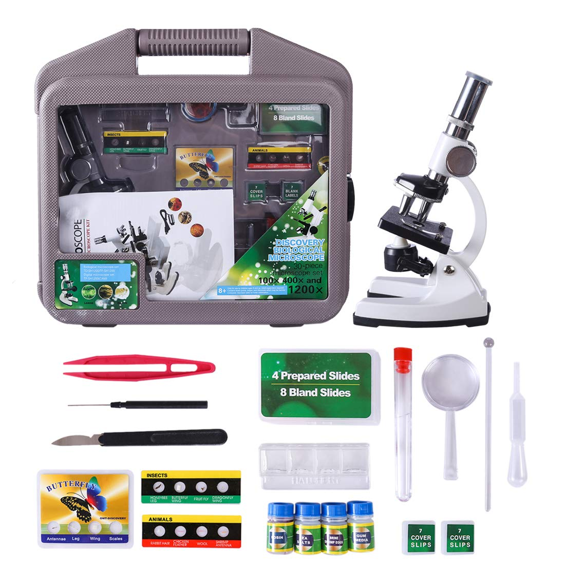 Yamix Science Kits Kids Microscope Beginner Microscope Kit, 1200x Magnification Kids Science Toys Children Microscope - White
