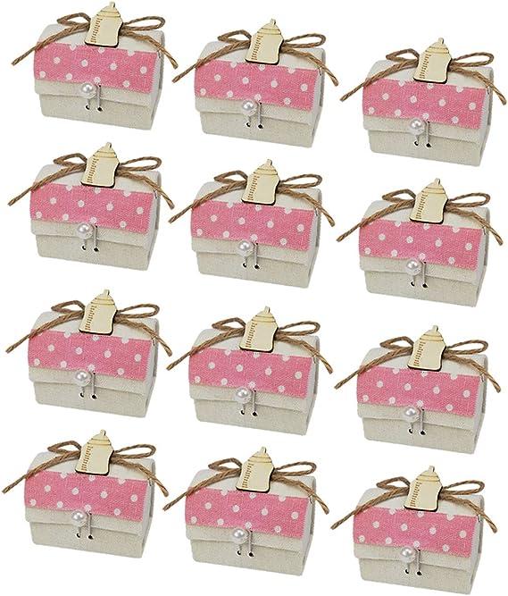 12 Caja de Regalo Bautizo Niña,Color Rosa,Arpillera-Botella Box ...