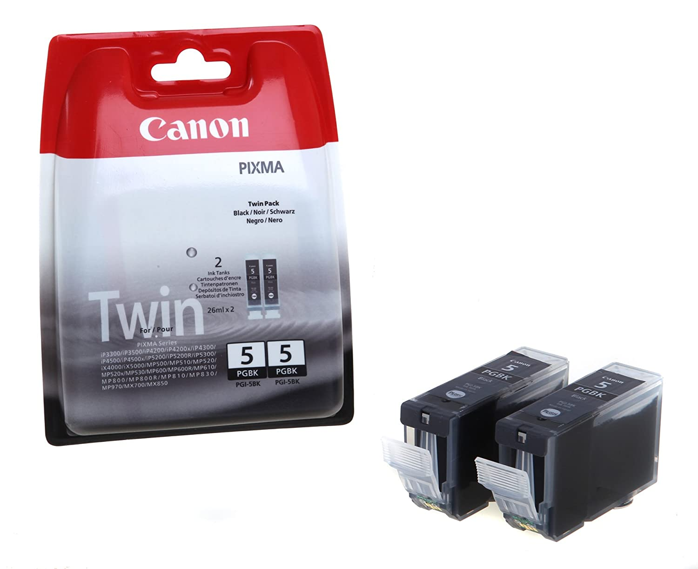 Canon 0628B030AA Cartucce d'Inchiostro, Confezione da 2 (26 ml x 2) BK Cartucceperstampantiefax PACK PGI-5