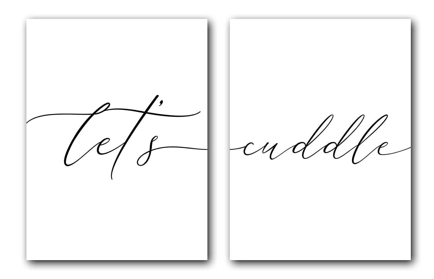 Let's Cuddle, Unframed, 18 x 24 Inches, Set of 2, Posters, Minimalist Art Typography Art, Bedroom Wall Art, Romantic Wall Decor