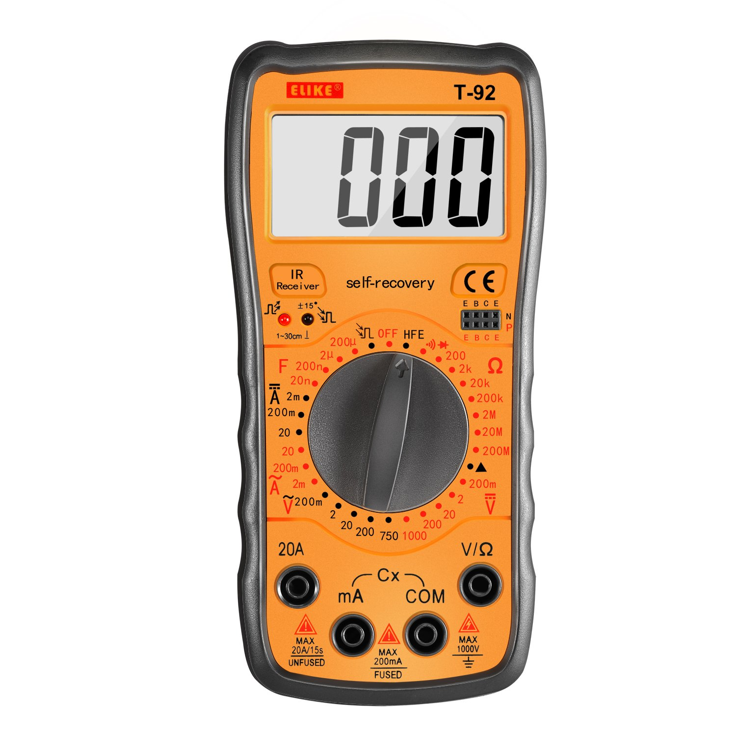 ELIKE T-92 Self-Recovery Digital Multimeter Amp/Ohm/Volt with Diode,Continuity, Capacitance,hFE,IR Detector and Livewire Identification