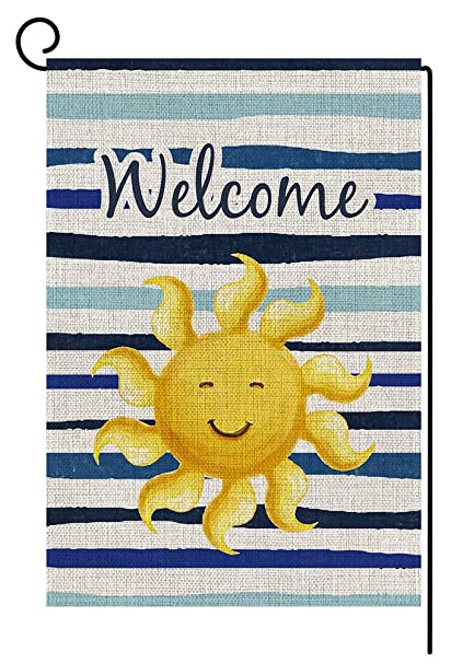 """Patriotic Welcome Family and Friends Primitive Small Garden Flag 12.5/"""" X 18/"""""""