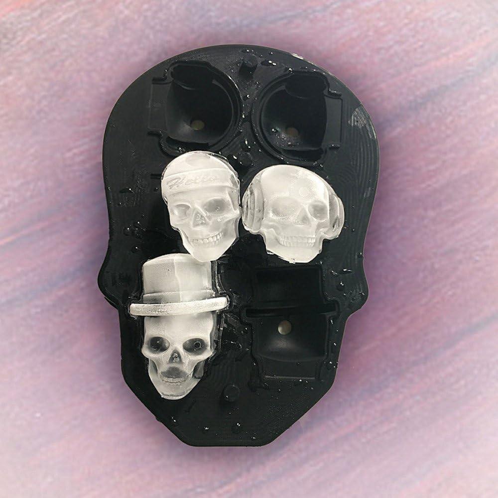 Cocktail und Jedes Getr/änk 3D Skull Eisw/ürfelformen Trichter Enthalten Mache 6 Vivid Skulls Perfekt f/ür Whiskey Spespo Schwarz BPA Freie Silikon Ice Cubes Mold Tray mit Deckel