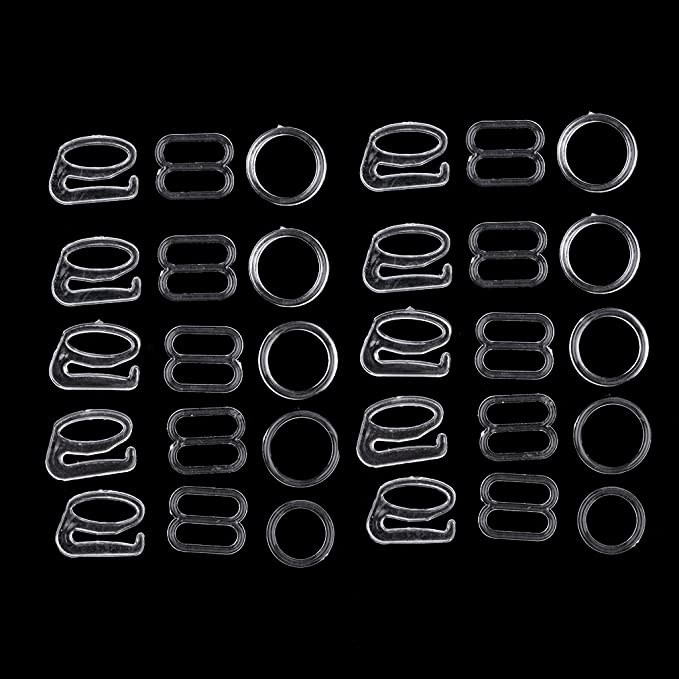 72c60ba08ca77 Sharplace 20 Sets Anneaux de Réglage de Soutien-Gorge Figure 8 Noir Blanc  8mm Attaches de Couture