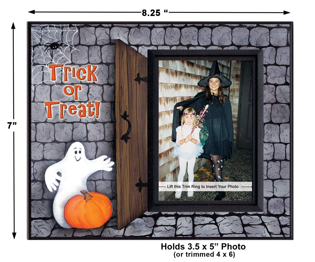 """Halloween Trick or Treater Tin Sign 8/""""x5.5/"""" Ghost Pumpkin 1995 by T.H.T ~New~"""