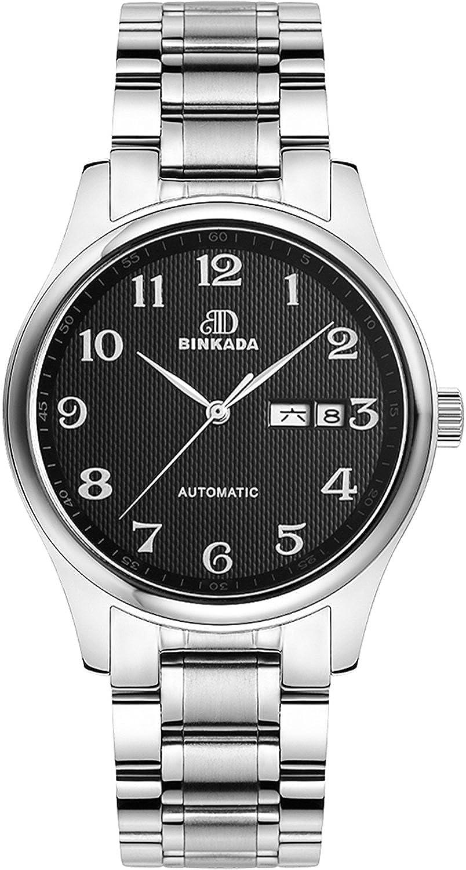 BINKADA自動機械ビジネスカジュアル曜日日付表示メンズウォッチ Stainless Steel-Black Dial B015EBTMZSStainless Steel-Black Dial