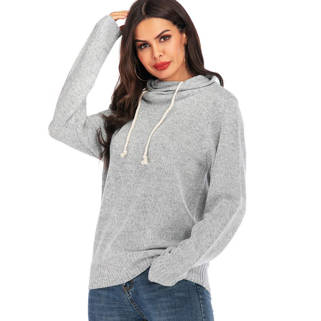〓COOlCCI〓Women's Long Sleeve Tops Solid Drawstring Casual Sweaters Novelty Hoodie Sweatshirt Pullover Shirts Blouse Gray by COOlCCI_Womens Clothing