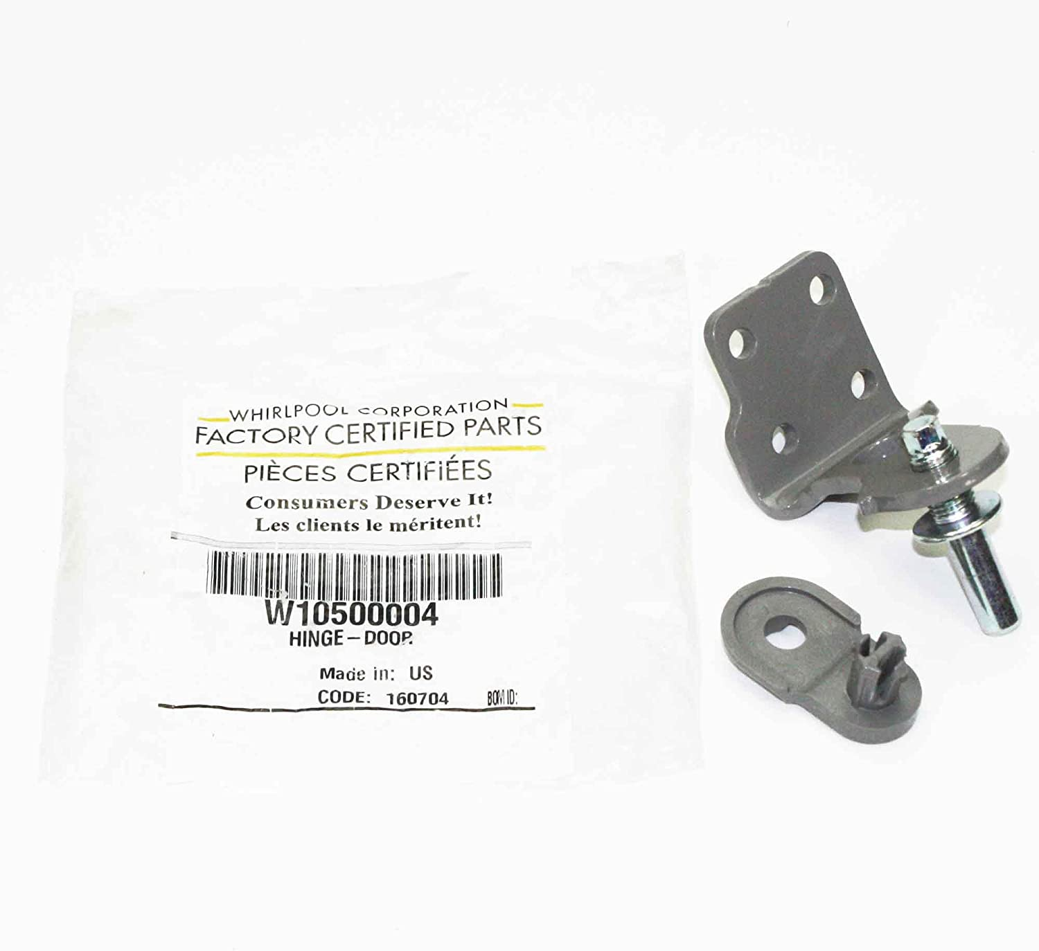 Whirlpool W10500004 Refrigerator Door Hinge Genuine Original Equipment Manufacturer (OEM) Part