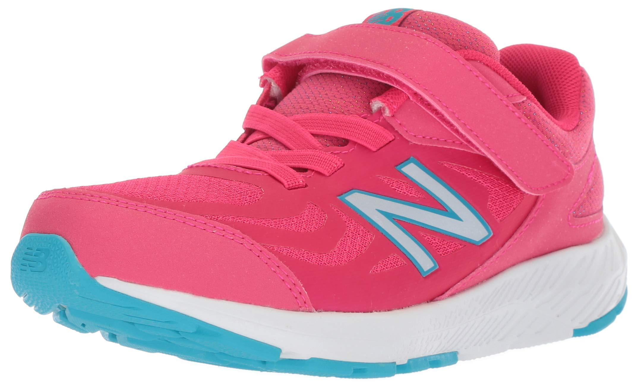 New Balance Girls' 519v1 Hook and Loop Running Shoe, Pomegranate/Rainbow 2 M US Little Kid