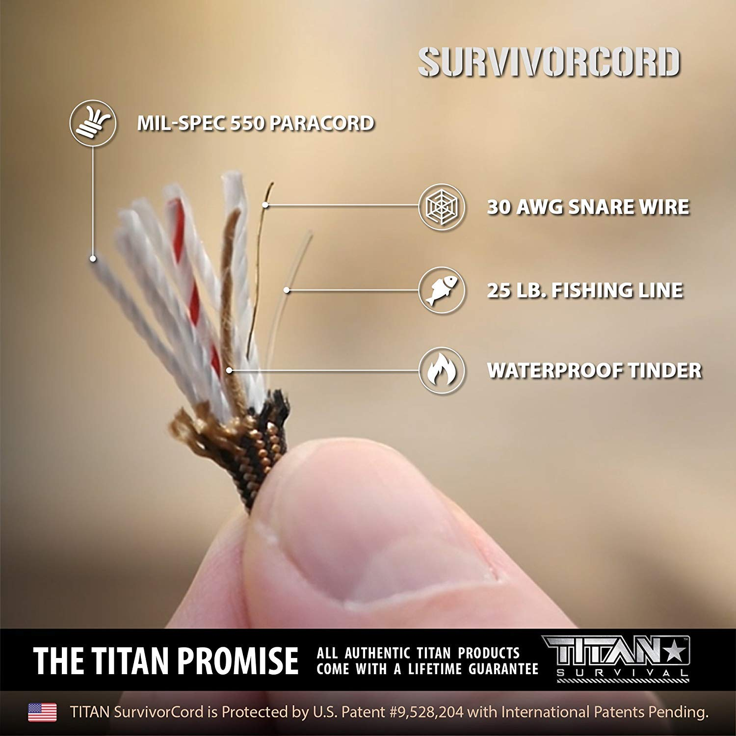 Titan SurvivorCord | Desert TAN | 103 Feet | Patented Military Type III 550 Paracord/Parachute Cord (3/16'' Diameter) with Integrated Fishing Line, Fire-Starter, and Utility Wire. by Titan Paracord (Image #3)