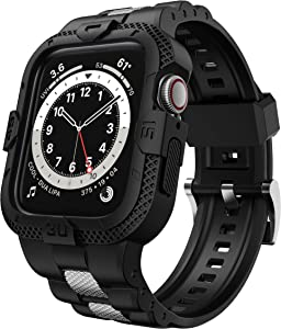 GELISHI Compatible for Apple Watch Band 44mm 42mm with Bumper Case, Men TPU Bands with Stainless Metal Pieces for Smartwatch Series 6 5 4 3 2 1 SE, Rugged Protective Band Case Shockproof , Black