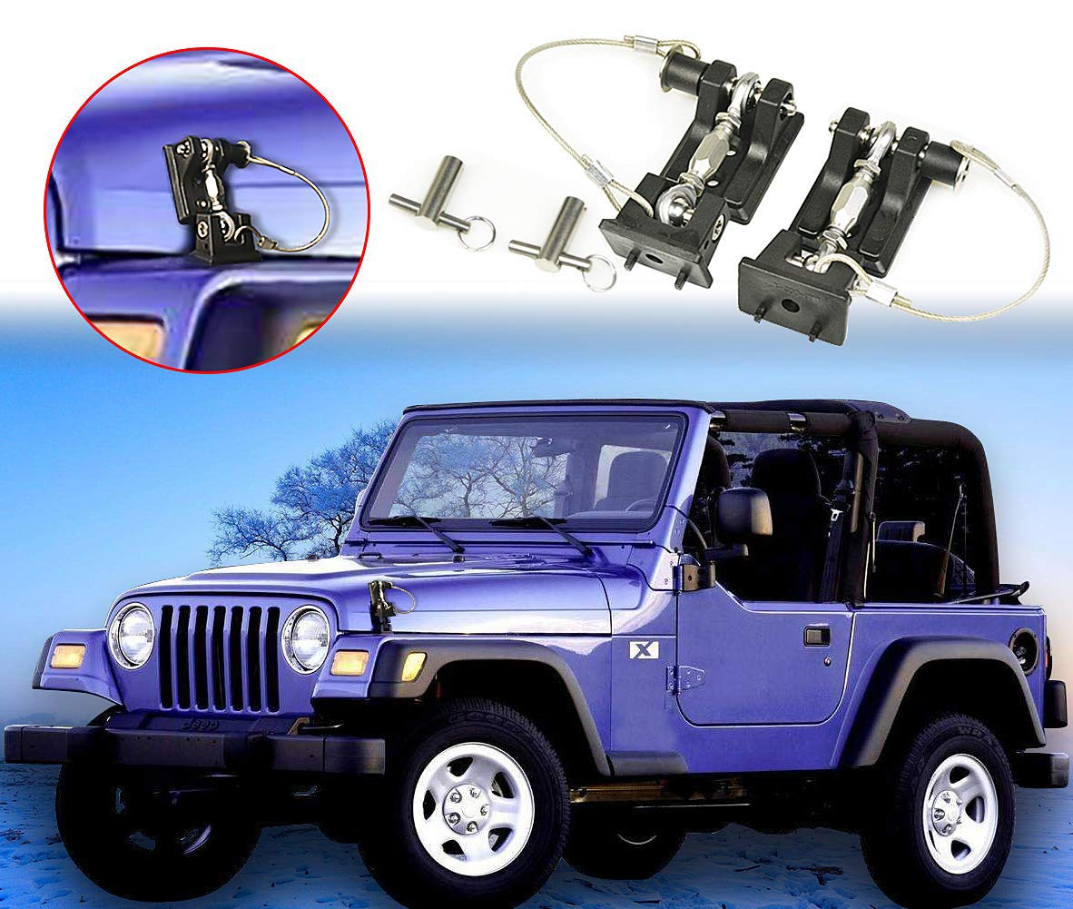COWONE Black Stainless Steel Hood Latches Hood Lock Catch Set for Jeep Wrangler JK JKU 2007-2018 Anti-Thief Security