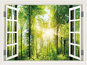 SUMGAR 3D Wall Mural for Windowless Basement Green Forest Sunshine Landscape Open Window Views Pictures Decals,48x36 inch