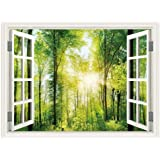 SUMGAR 3D Wall Mural for Windowless Basement Green Forest Sunshine Landscape Open Window Views Pictures Decals,48x36…