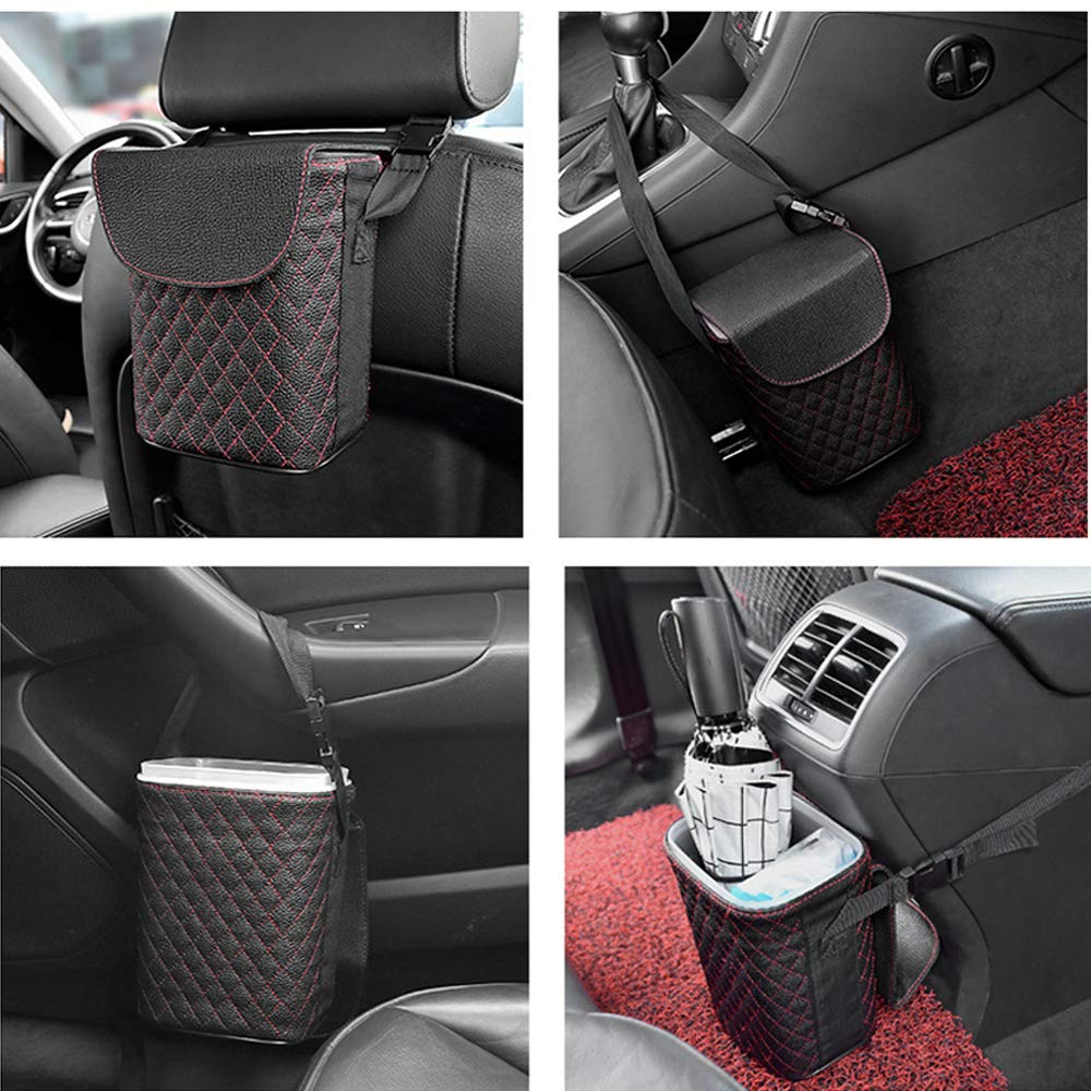 Oneuda Car Trash Can with Magnetic Lid 100/% Leak-Proof Inside Washable and Portable Car Garbage Can with Removable Inner Bucket